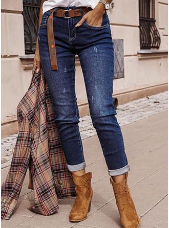 Jednolity Dżinsowa Długo Nieformalny Elegancki Duży rozmiar Pocket Ripped Dżinsy