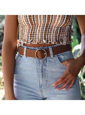 Classic O-ring Buckle Alloy PU Women's Belts