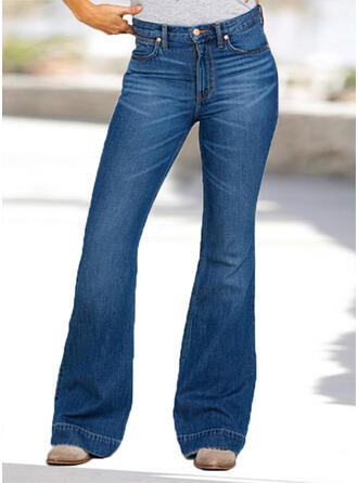 Kieszenie Marszczona Duży rozmiar Długo Elegancki Seksowny Dżinsy