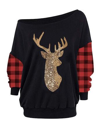 Grid Sequins One Shoulder Long Sleeves Christmas Sweatshirt
