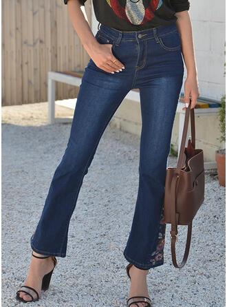 Embroidery Shirred Plus Size Elegant Vintage Denim & Jeans
