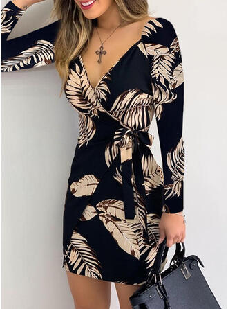 Print/Floral Long Sleeves Sheath Above Knee Elegant Wrap Dresses