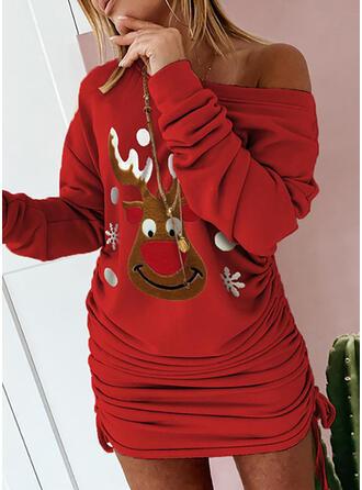 Nadruk zwierzęcy Długie rękawy Bodycon Nad kolana Boże Narodzenie/Casual Bluza Sukienki