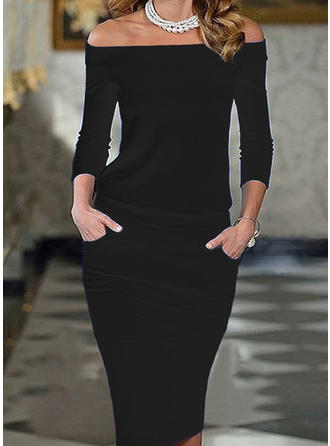 Jednolita Rękawy 3/4 Bodycon Długośc do kolan Mała czarna/Elegancki Ołówkowa Sukienki