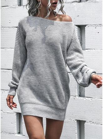 Jednolity Okrągły dekolt Seksowny Sukienka sweterkowa