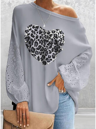 Leopard Beaded Heart Round Neck Long Sleeves Casual Blouses