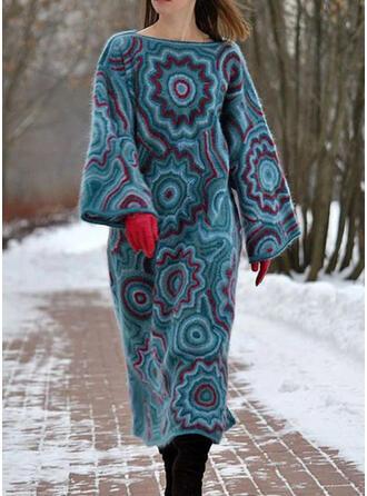Nadrukowana Długie rękawy Koktajlowa Casual Midi Sukienki