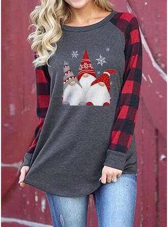 Nadruk Okrągły dekolt Długie rękawy Casual Boże Narodzenie T-shirty