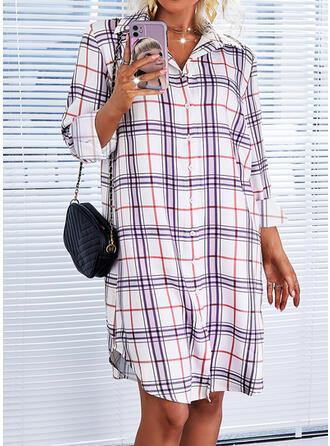W kratę Długie rękawy Suknie shift Długośc do kolan Nieformalny Koszula Sukienki