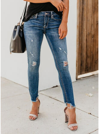 Pockets Shirred Ripped Cropped Sexy Skinny Denim & Jeans