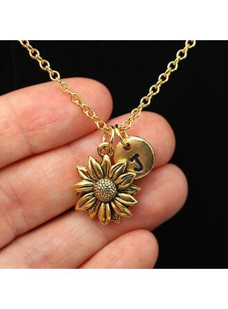 Charming Pretty Artistic Romantic Alloy With Flowers Metal Letter Décor Women's Necklaces