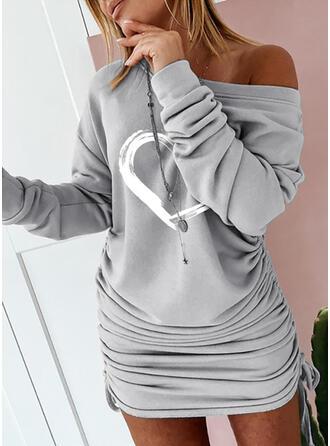 Nadrukowana Długie rękawy Bodycon Nad kolana Casual Sukienki