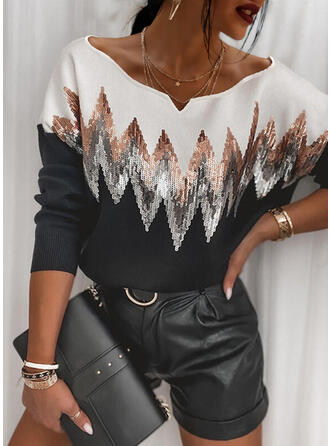 Sequins V-Neck Casual Sweaters