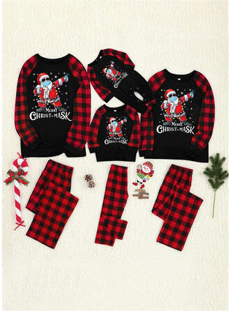 Santa Plaid Letter Print Family Matching Christmas Pajamas