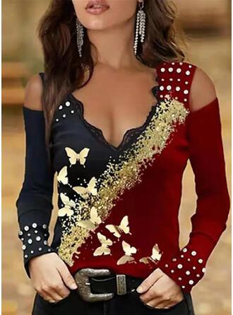 Nadruk Blok Koloru butterfly Koronka Zimne ramię Długie rękawy cold ramion rękaw Elegancki Bluzki