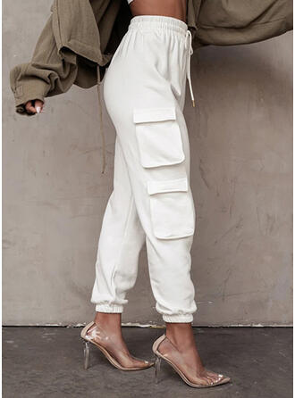 Solid Pockets Drawstring Casual Sporty Lounge Pants