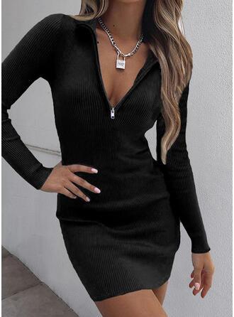Jednolity Długie rękawy Bodycon Nad kolana Mała czarna/Nieformalny Sukienki
