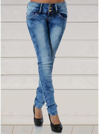 Jednolity Dżinsowa Długo Nieformalny Duży rozmiar Pocket Dżinsy