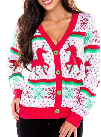 Damskie Poliester Nadruk Zwierzęcy Brzydki świąteczny sweter