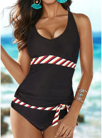 Stripe Splice color Strap Round Neck Fashionable Tankinis Swimsuits