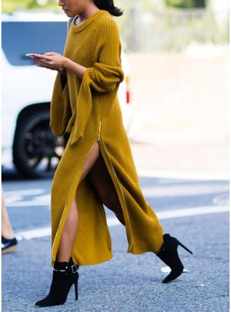Jednolita Długie rękawy Koktajlowa Sweter Casual Maxi Sukienki