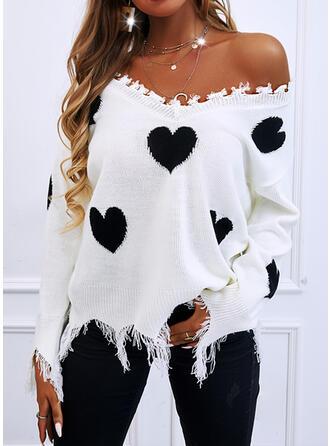 Nadruk Serce Dekolt w kształcie litery V Nieformalny Swetry