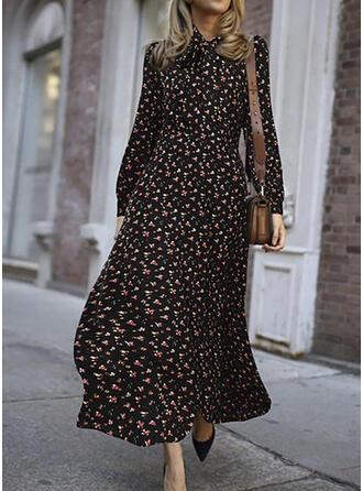 Nadrukowana/Kwiatowy Długie rękawy W kształcie litery A Łyżwiaż Elegancki Maxi Sukienki