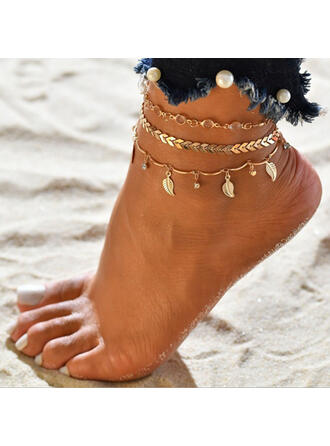 Hottest Alloy With Leaf Beach Jewelry Anklets (Set of 3)