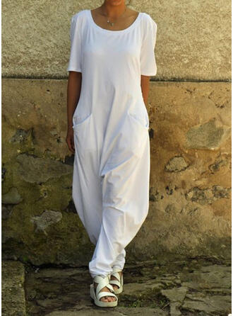 Solid Round Neck Short Sleeves Casual Jumpsuit