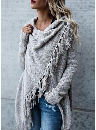 Solid Chunky knit Asymmetrical Casual Asymmetrical Cardigan
