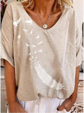 Nadruk Dekolt w kształcie litery V Rękaw 1/2 Casual T-shirty