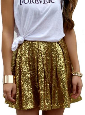 Bawełna Cekiny Mini Spódnice A-Line