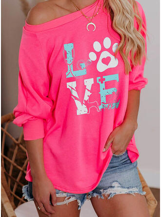 Animal Print Figure Heart One Shoulder Long Sleeves Casual T-shirts