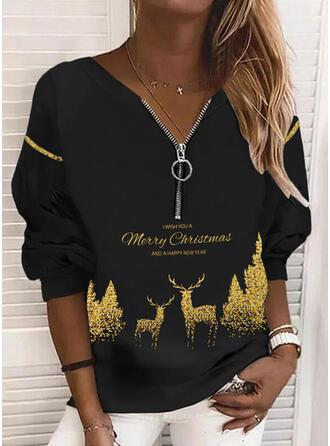 Boże Narodzenie Nadruk Wytłaczany Renifer Dekolt w kształcie litery V Długie rękawy Świąteczna bluza