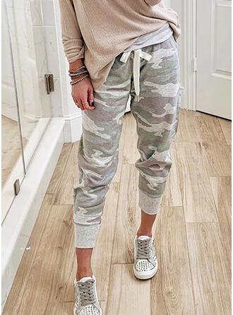 Kamuflaż Długo Nieformalny drawstring Spodnie