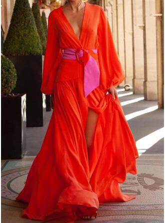 Jednolita Długie rękawy W kształcie litery A Łyżwiaż Casual/Wakacyjna Maxi Sukienki