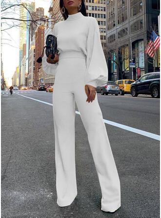 Jednolity Sztywny kołnierzyk Długie rękawy Nieformalny Elegancki Kombinezon
