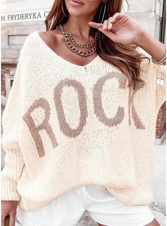 Nadruk Wytłaczany Dekolt w kształcie litery V Nieformalny Swetry