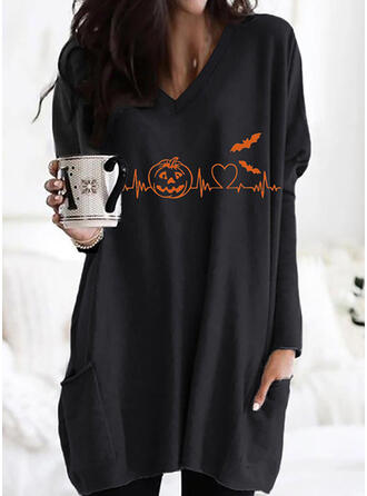 Halloween Nadruk Serce Zwierzę Dekolt w kształcie litery V Długie rękawy Bluza