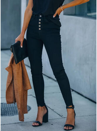 Pockets Plus Size Long Elegant Sexy Denim & Jeans