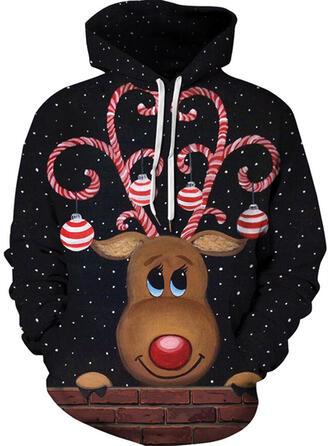 Unisex Mieszanki bawełny Renifer Świąteczna bluza