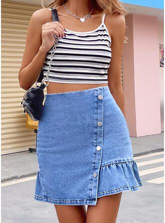 Cotton Blends Plain Above Knee Bodycon Skirts