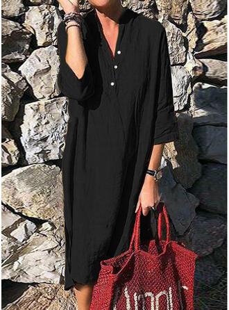Jednolita Rękawy 3/4 Koktajlowa Mała czarna/Casual Midi Sukienki