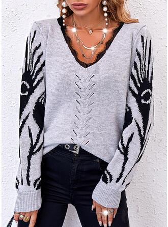 Halloween Nadruk Koronka Dekolt w kształcie litery V Nieformalny Swetry