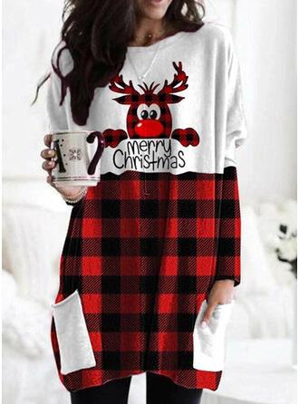Print Color Block Grid Figure Round Neck Long Sleeves Christmas Sweatshirt