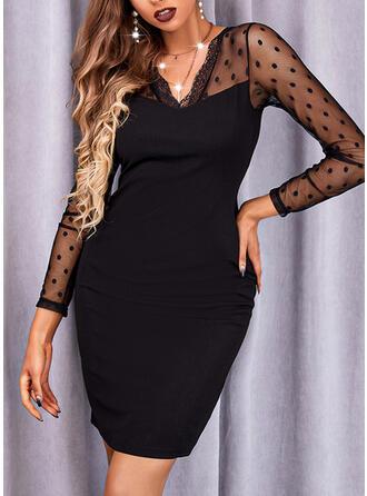 Jednolity Długie rękawy Pokrowiec Nad kolana Mała czarna/Elegancki Sukienki
