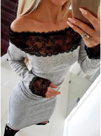 Koronka Długie rękawy Bodycon Nad kolana Mała czarna/Casual/Elegancki Sukienki