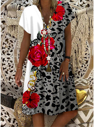 Nadrukowana/Kwiatowy/lampart Krótkie rękawy Koktajlowa Długośc do kolan Casual T-shirt Sukienki