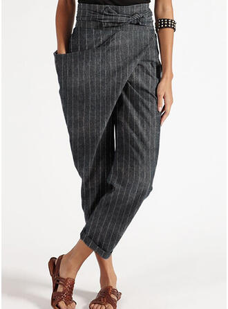 Striped Patchwork Plus Size Cropped Casual Elegant Tribal Pants