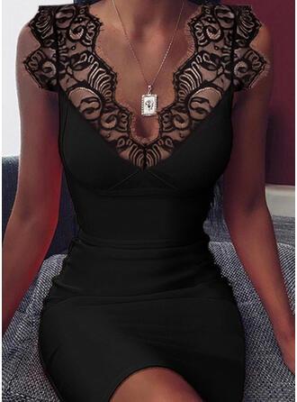 Jednolita Bez rękawów Bodycon Nad kolana Mała czarna/Seksowna Sukienki